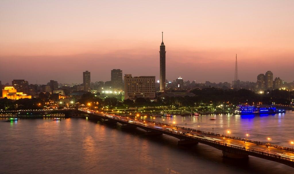 city bridge lit up at night