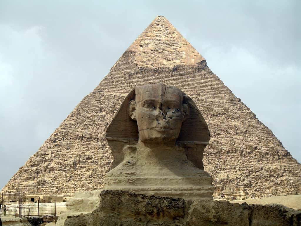 Egyptian pyramid with statue close up