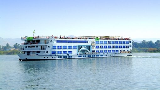 luxury blue and white crusie ship in sea