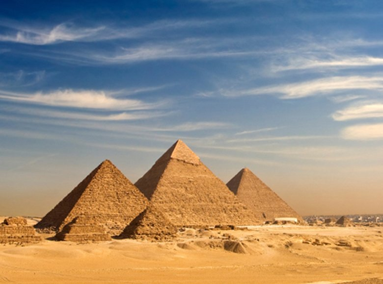 Giza Egyptian Pyramids and view of complete classic city