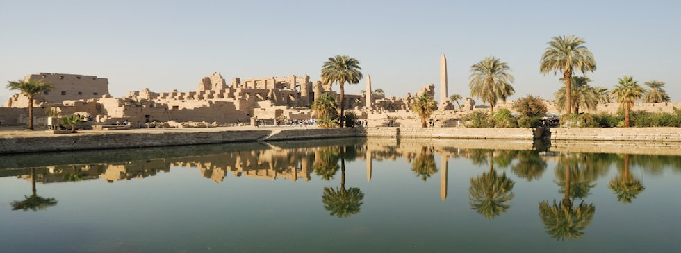 reflection of Karnak Temple outside view in Nile river