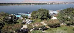 Iberotel Luxor Top view with banks of the Nile and lush green trees